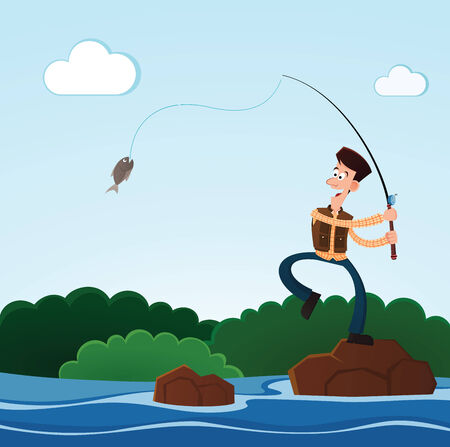 young man happily catching a fish while fishing in the river Illustration