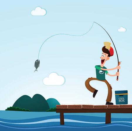 바다에서 낚시를하는 동안 젊은 남자가 행복 물고기를 잡는 일러스트