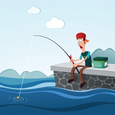 young man get shocked see his float while fishing Illustration