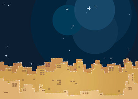scenery of city night with starry sky, suitable for children story book Illustration