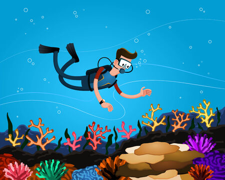 a young man enjoying coral reef while diving in the deep sea