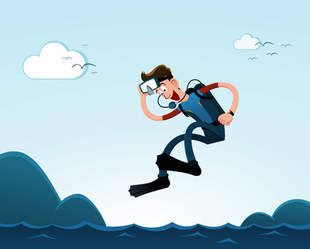a young man jumping to the sea, ready to diving in the deep sea