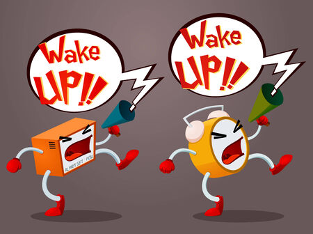a pair of alarm screaming, waking up it s owner