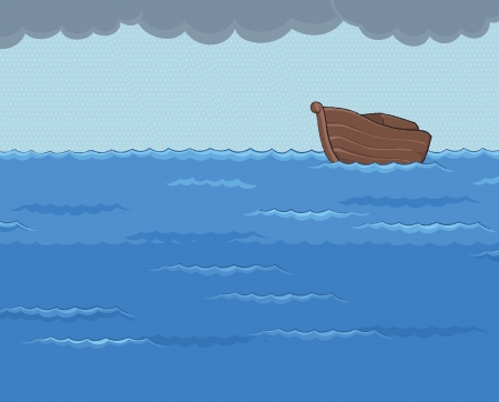 ark in the middle of rainy sea with the dark cloud above