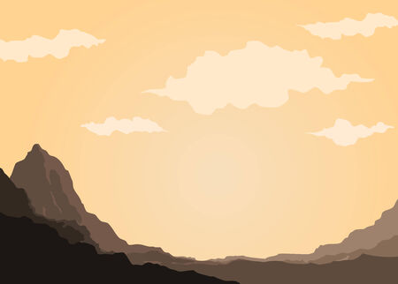 mountain of rock in the middle of desert Illustration