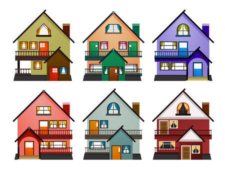 front view of various modern houses with a minimalist style Illustration
