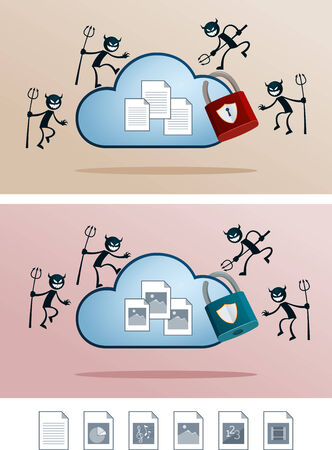 illustration of file in the cloud storage attacked by computer virus  alternative digital file icon is available  Illustration
