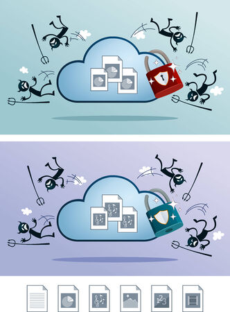 illustration of file in the cloud storage protected from computer virus  alternative digital file icon is available  Illustration