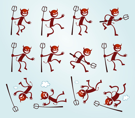 illustration of devil in various poses and expressions Illustration