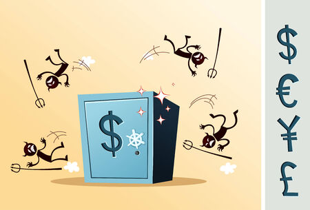 illustration of safe deposit box protected from thief, which is symbolized as devil  alternative currency symbol is available