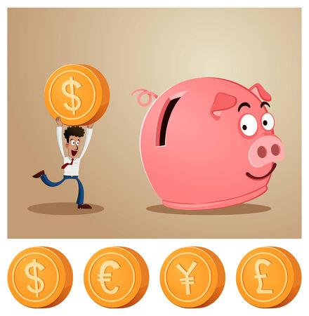an office worker saving money into smiling piggybank Illustration