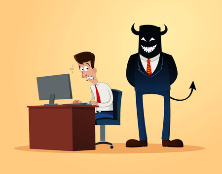 subordinate: an office worker get scared when supervised