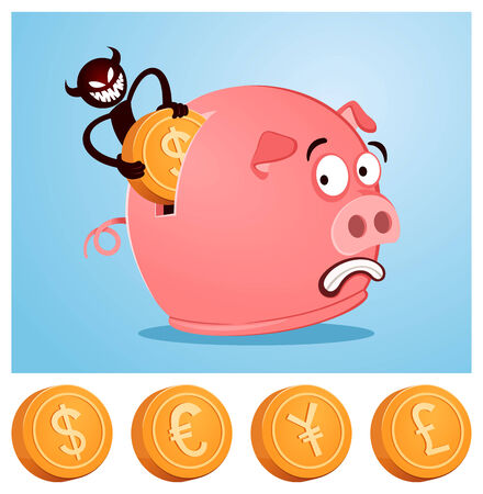tricky devil stealing money from piggybank