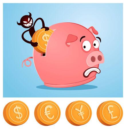 tricky: tricky devil stealing money from piggybank