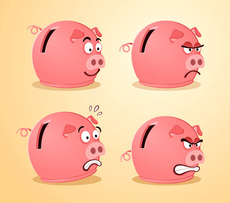illustration of piggybank in various pose and expression Illustration