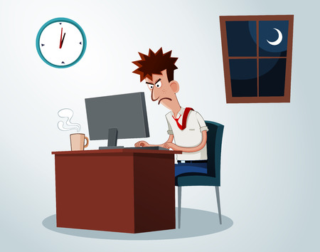 lazy office worker get grumpy when working overtime Vector