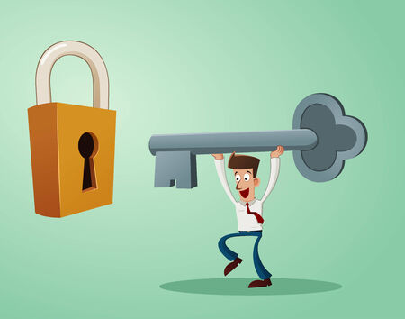vigor: an office worker inserting a key into the keyhole of padlock Illustration
