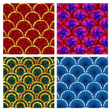 circular brick pattern in various color scheme