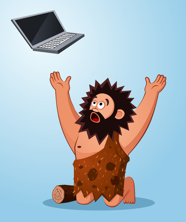 worshiping: prehistoric age of caveman worshiping a laptop thinking it s miraculous stuff