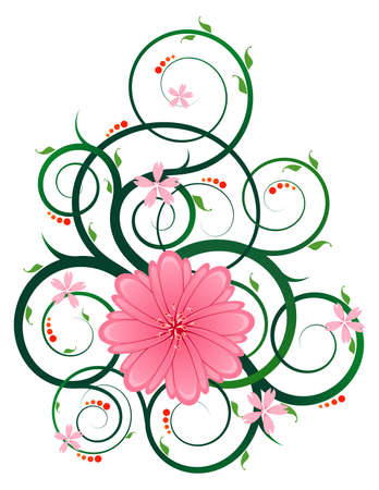 floral ornament with circular and swirly vine, suitable for artwork with a romantic and classic theme
