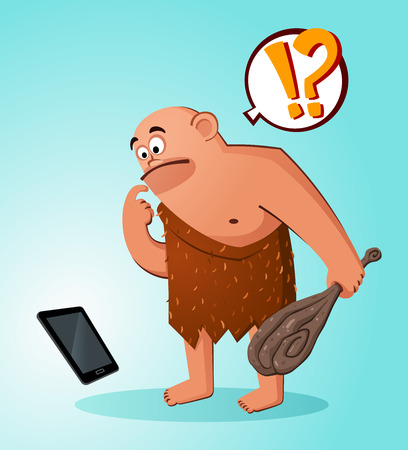prehistoric age: prehistoric age of bald caveman get scared and hiding seeing an operated gadget