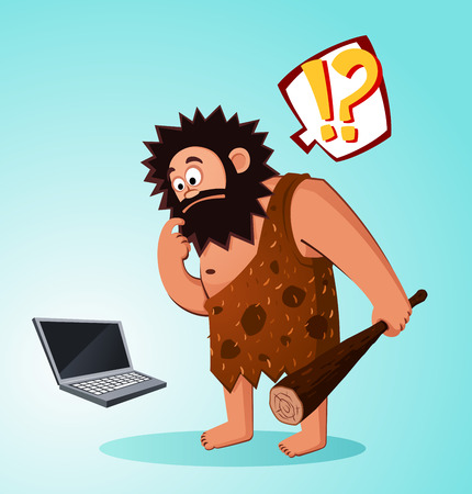prehistoric age: prehistoric age of beardy caveman surprised to find a laptop
