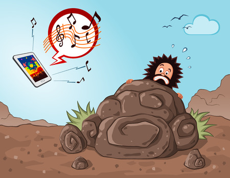 prehistoric age: prehistoric age of caveman get scared and hiding seeing an operated gadget