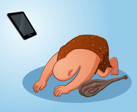 prehistoric age: prehistoric age of caveman worshiping a gadget thinking it s miraculous stuff