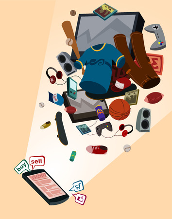 retailers: illustration of online shop for boys by smartphone with various thing flew above
