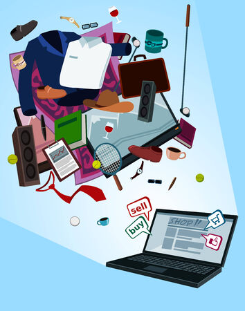 retailers: illustration of online shop for men by laptop with various thing flew above