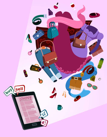 stilletto: illustration of online shop for women by gadget with various thing flew above