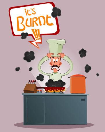 엘리트 요리사는 스트레스를받을 그의 음식이 끊어져의 때문에 일러스트