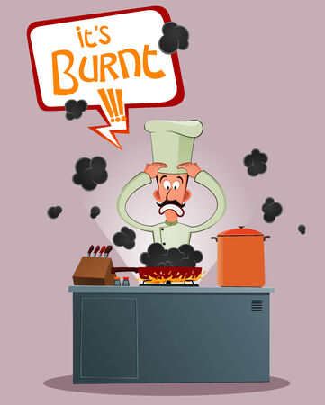 elite chef get stressed because of his food has burnt