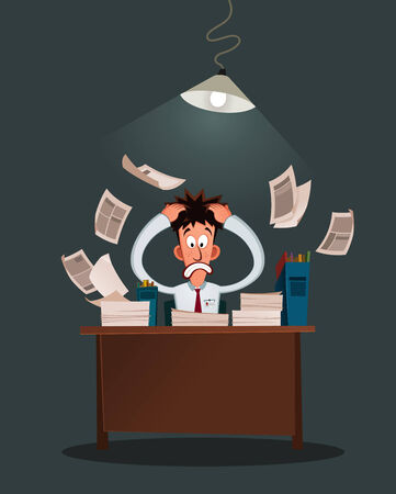 office worker get stressed because of his work Illustration