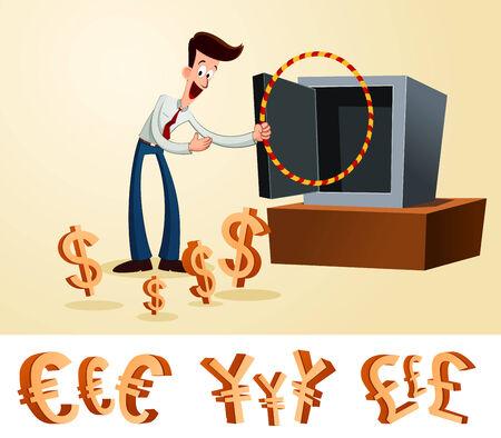 giovane operaio attirare soldi in cassetta