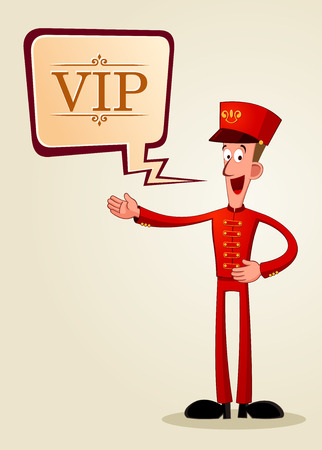 charming bell boy offering executive service for his guest