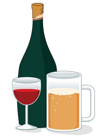whisky bottle: various illustration of drinks Illustration