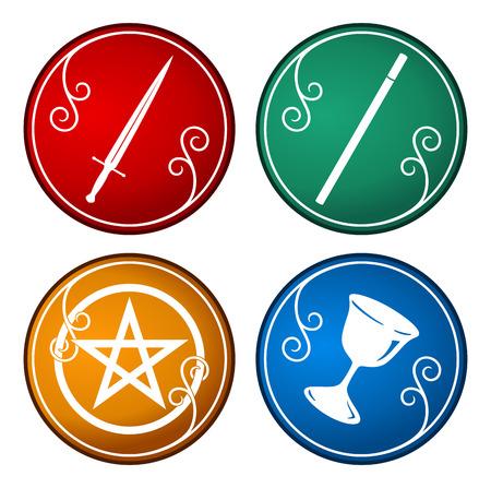 set of colorful tarot symbol