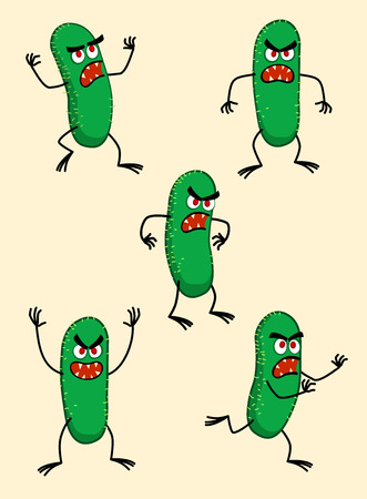 various expressions of bad germ Illustration