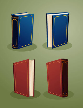 illustration of herdcover books in various angle Illustration