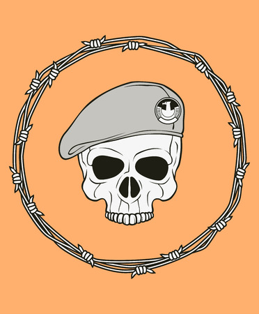 military beret: monochrome skull illustration, well organized, easy to rearrange and recolor Illustration