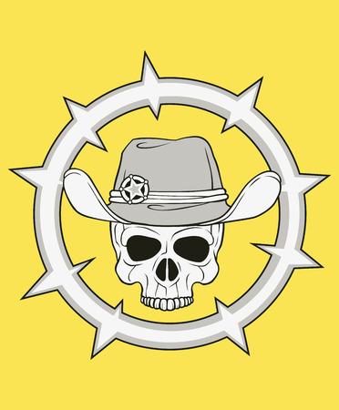mercenary: monochrome skull illustration, well organized, easy to rearrange and recolor Illustration