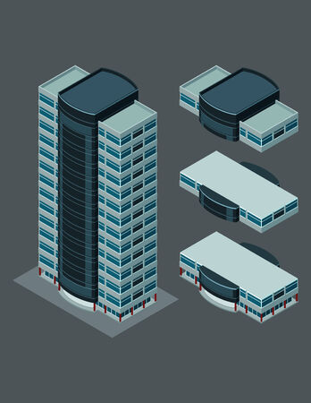 isometric building, each part is well grouped and easy to rearrange and customize Vector