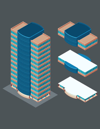 plaza: isometric building, each part is well grouped and easy to rearrange and customize Illustration