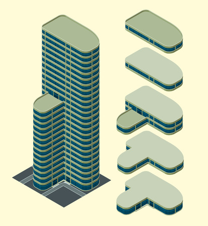 rearrange: isometric building, each part is well grouped and easy to rearrange and customize Illustration