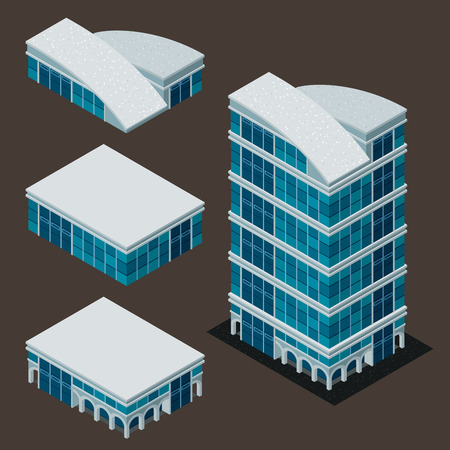 modern office: isometric building, each part is well grouped and easy to rearrange and customize Illustration