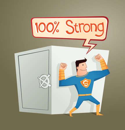 guard box: strong retro super hero guarding a deposit box and get a pose