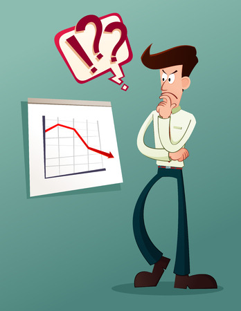 skeptic: young businessman analyze business result Illustration