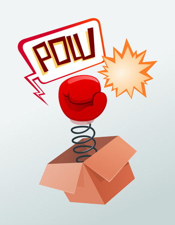 boxing glove out of the surprise box Illustration