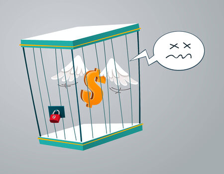 confined: flying dollar trapped in a cage Illustration